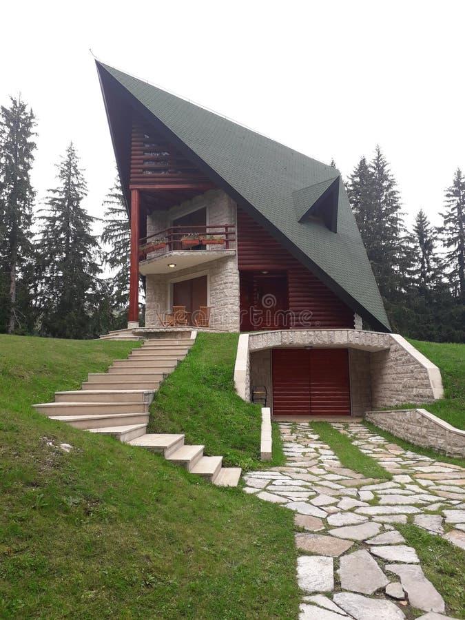小山的一个山美丽的房子位于森林在湖旁边 免版税库存图片