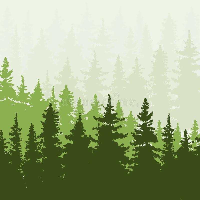 小山的云杉的森林 绿色和米黄颜色 库存例证