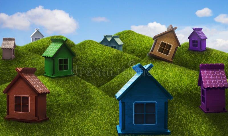 小山的五颜六色的一层房子 库存照片