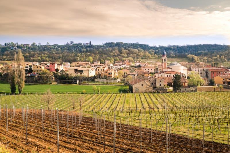 小山的典型的意大利村庄 库存照片