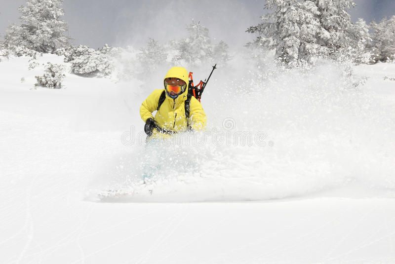 小山的挡雪板 免版税库存照片