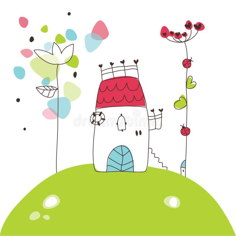小山的白色房子-图画 向量例证
