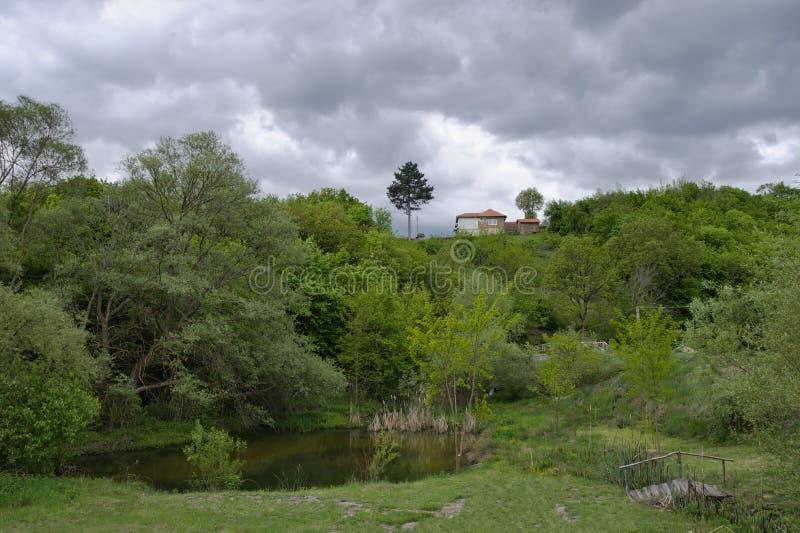 小山的老房子在沼泽上 免版税库存照片