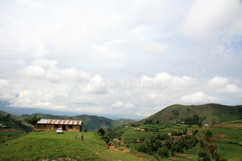 小山的- Kisoro -乌干达,非洲之家 免版税库存图片