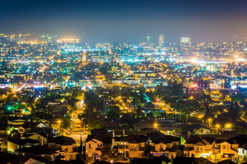 从小山顶公园的夜视图,信号小山的 免版税图库摄影