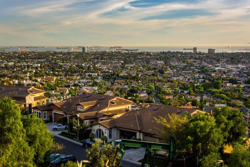 从小山顶公园的看法,信号小山的,长滩,加利福尼亚 免版税库存图片