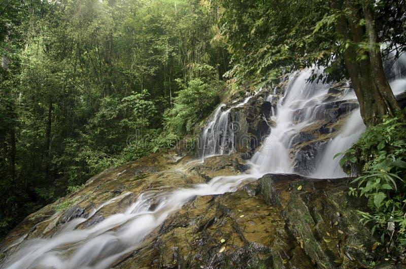 从小山,湿岩石和绿色生苔的惊人的瀑布流程 图库摄影