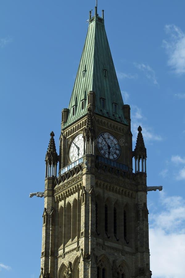 小山ontari渥太华议会和平塔 库存照片