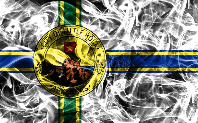 小岩城市烟旗子,阿肯色状态,上午美国  图库摄影