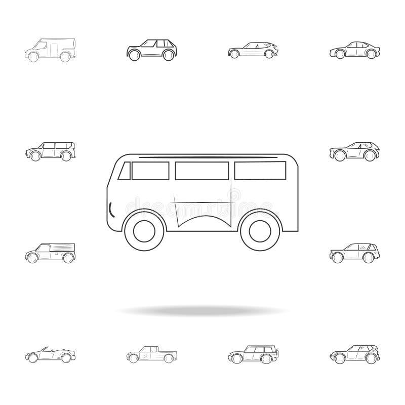 小巴线象 详细的套汽车象 优质图形设计 其中一个网站的汇集象,网络设计, MOBIL 向量例证