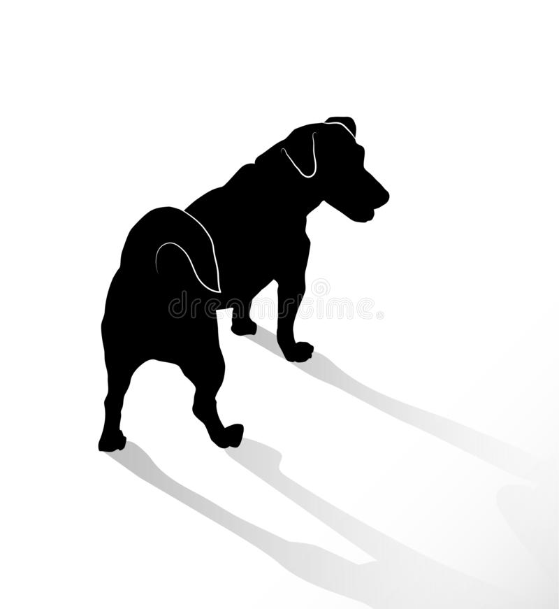 小常设狗杰克罗素狗剪影  在白色背景隔绝的宠物的后方和顶视图 向量例证