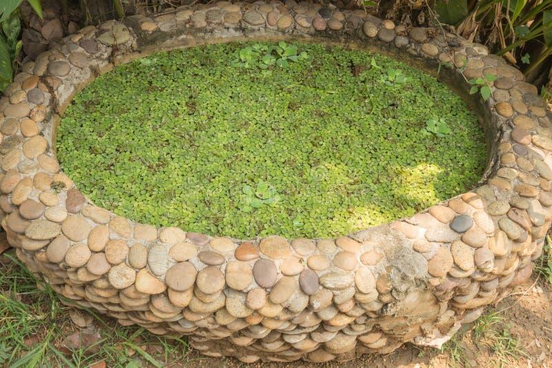 小庭院池塘由石渣石头做成 库存照片