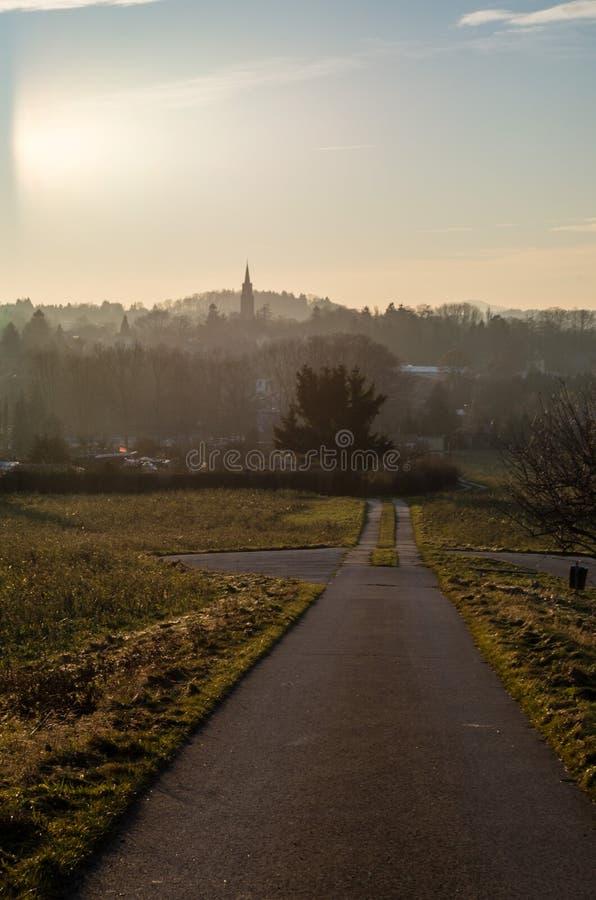 小往镇的路主导的方向 库存图片