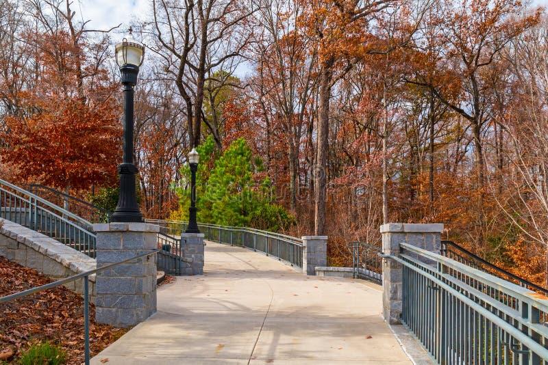小径和台阶对盛大树荫处在山麓停放,亚特兰大,美国 库存照片