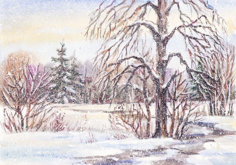 小径在冬天公园 库存例证