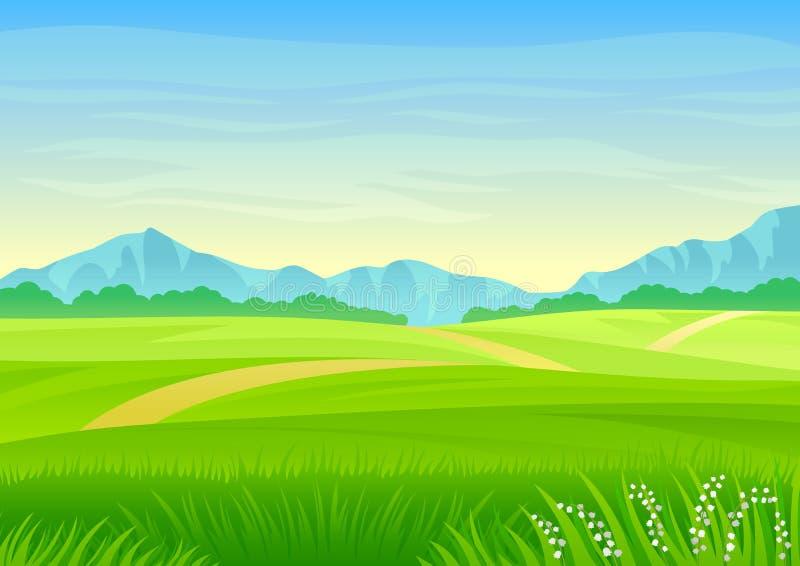 小径通过一个绿色草甸 r 库存例证