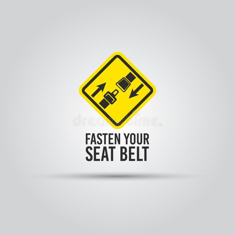 小心与紧固安全带文本黄色标志 向量例证