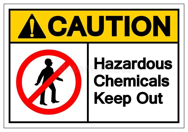 小心危害化学制品把标志标志,传染媒介例证,在白色背景标签的孤立关在外面 EPS10 皇族释放例证