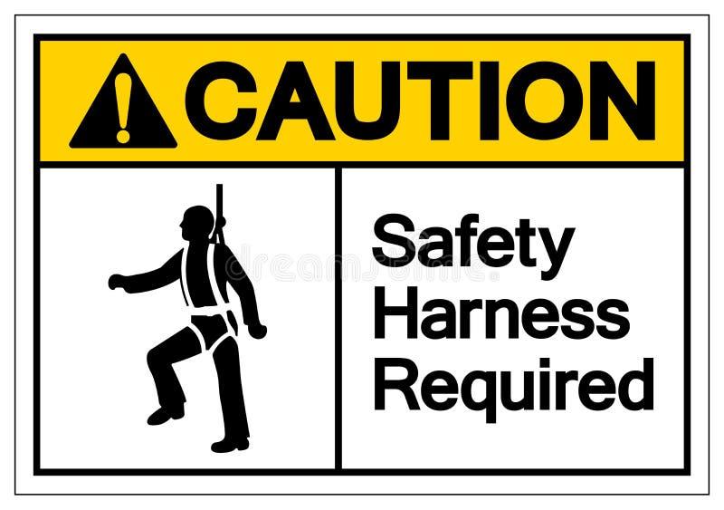 小心安全带要求标志标志,传染媒介例证,在白色背景标签的孤立 EPS10安全带要求 库存例证