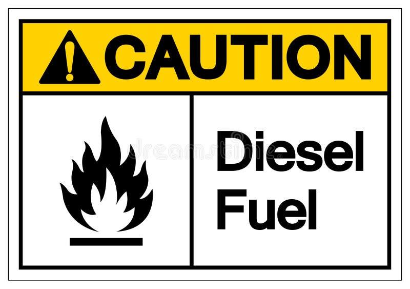 小心柴油标志标志,传染媒介例证,在白色背景标签的孤立 EPS10 向量例证