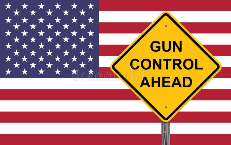 小心标志-前面枪枝管制 库存例证