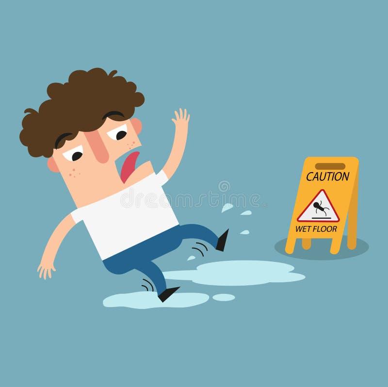 小心湿楼层的符号 滑倒被隔绝的例证的危险 向量例证