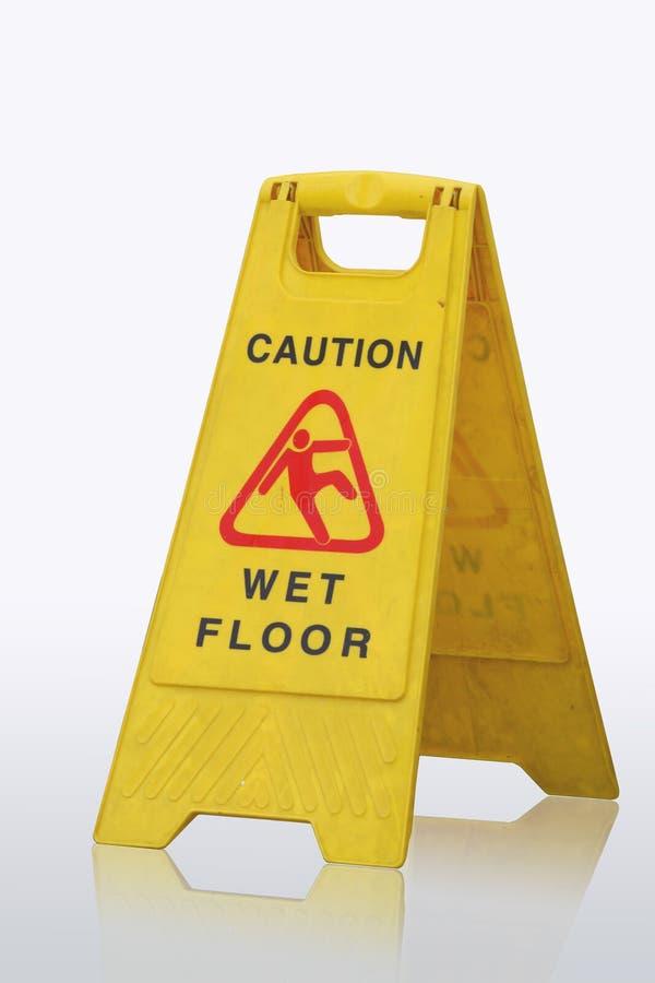 小心湿楼层的符号 库存图片