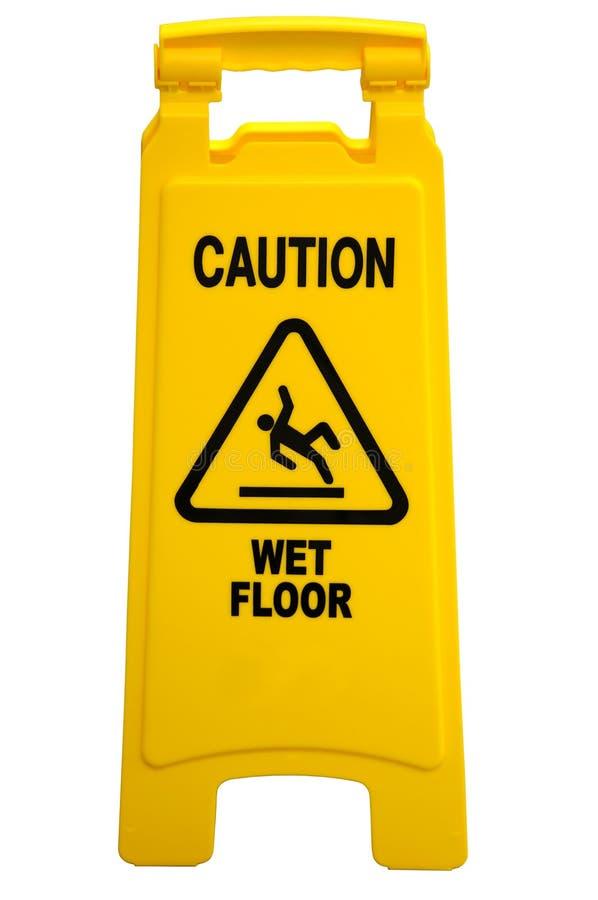 小心湿楼层的符号 库存照片