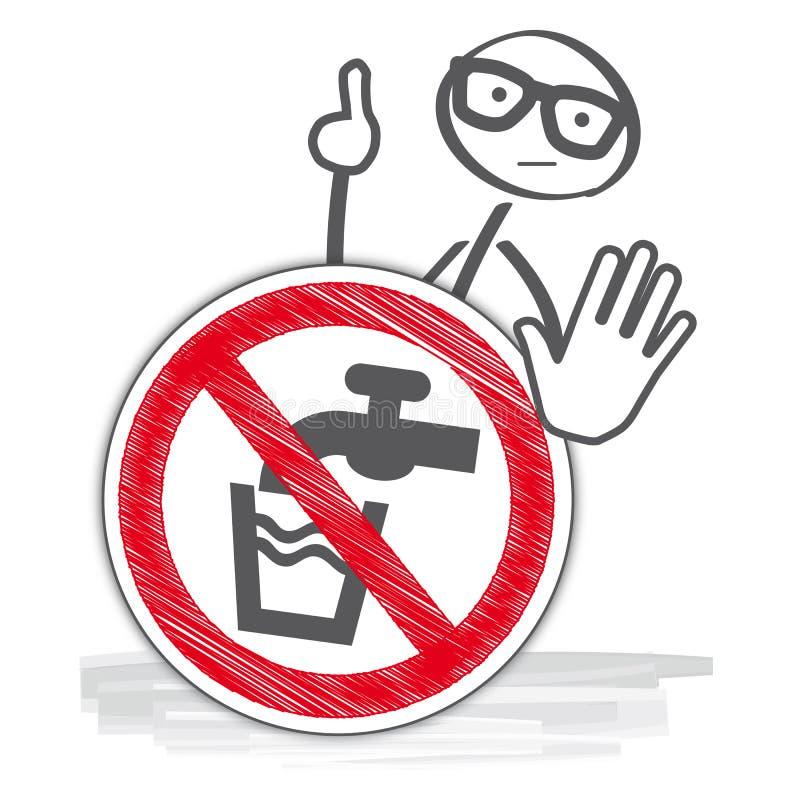 小心-不要喝水 库存例证