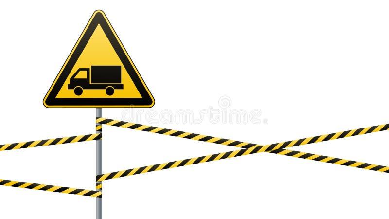 小心-危险警报信号安全 当心汽车 与一个黑图象的一个黄色三角 在杆的标志和 向量例证