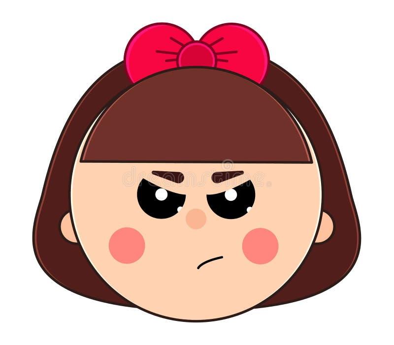 小恼怒的女孩的面孔有短发和逗人喜爱的弓的 库存例证