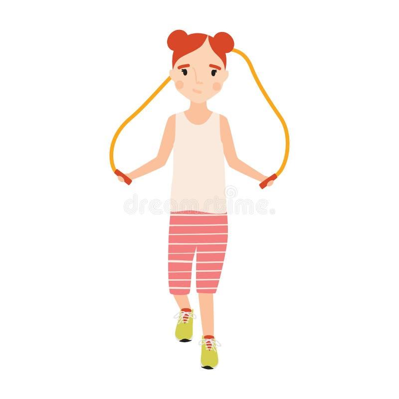 小愉快的女孩在有在白色背景隔绝的跳绳的运动服穿戴了 炫耀活动,训练或 皇族释放例证