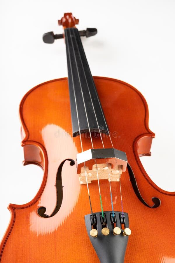小提琴和弓在轻的背景 一个新的被串起的乐器 免版税库存图片