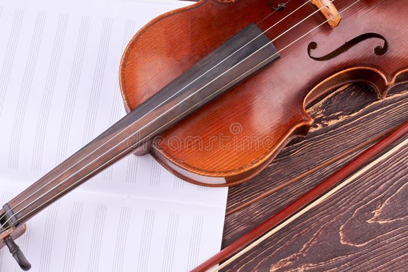 小提琴和音符关闭  库存图片