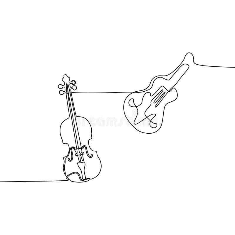 小提琴声学吉他一线乐器乐队动画片例证  向量例证