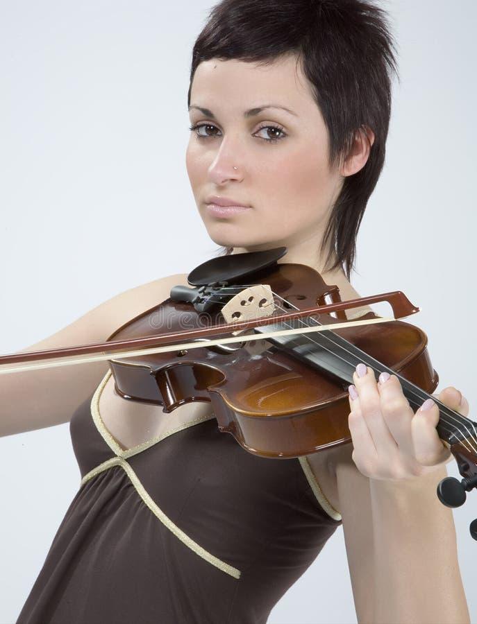 小提琴妇女 免版税库存照片