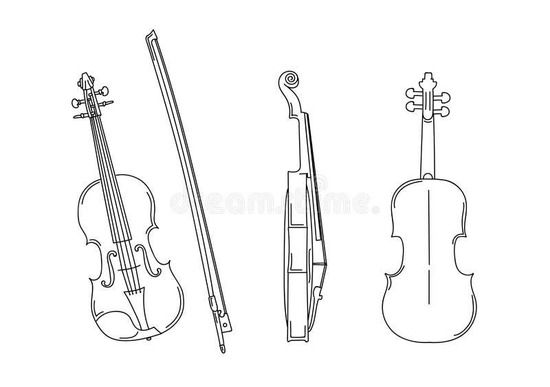 小提琴用不同的位置,前面,后面,与弓的外形概述剪影  库存例证