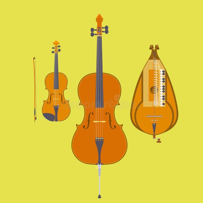 小提琴、小提琴乐弓、大提琴和手摇风琴 库存例证