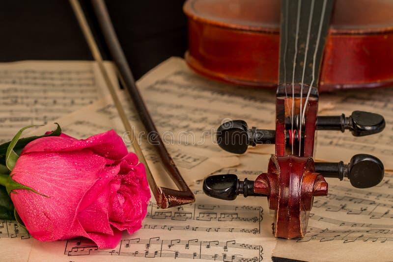 小提琴、红色玫瑰和活页乐谱 图库摄影