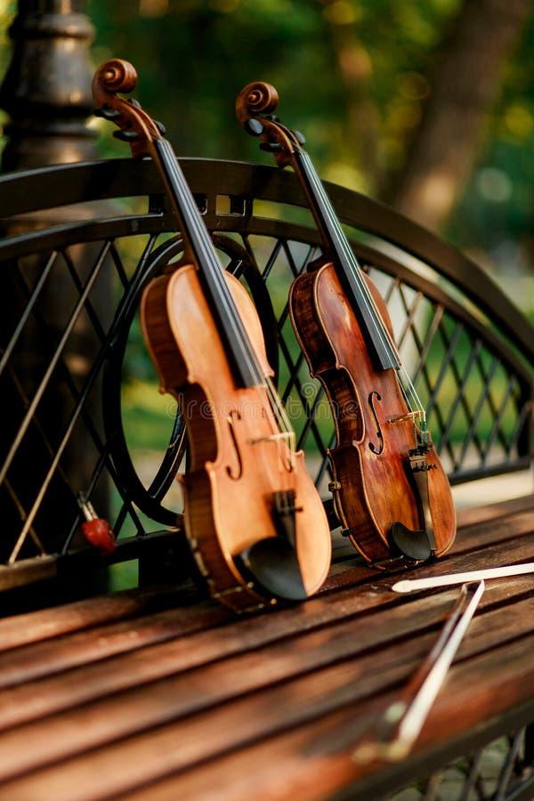小提琴乐队的乐器 小提琴在长凳的公园 免版税图库摄影