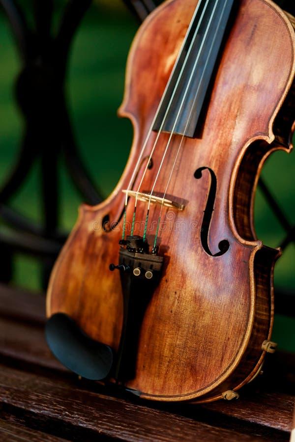 小提琴乐队的乐器 小提琴在长凳的公园 图库摄影