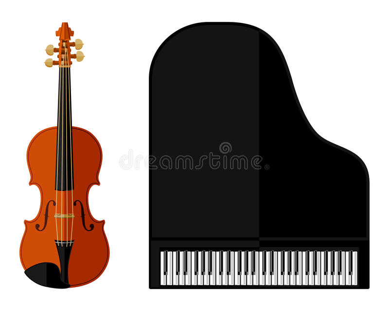 小提琴和大平台钢琴的被隔绝的图象 皇族释放例证