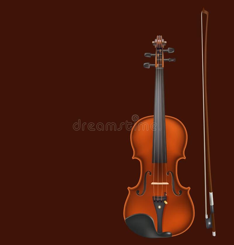 小提琴和弓在黑暗的背景 向量例证