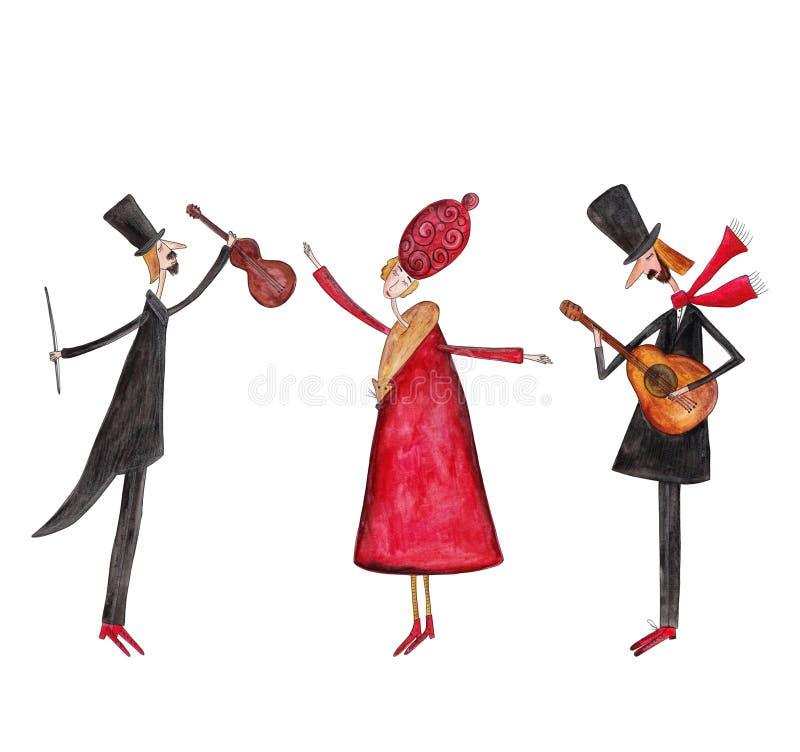 小提琴手、舞蹈家和吉他弹奏者 向量例证