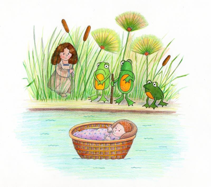小摩西和青蛙 库存例证