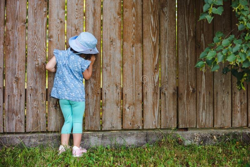 小撬起的孩子从在篱芭的孔闪耀在海外它的后院 图库摄影