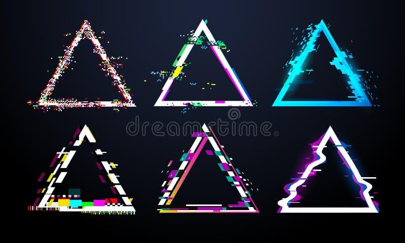 小故障三角框架 被变形的电视屏幕,对瑕疵的缺点轻的臭虫作用glitched三角 畸变小故障 向量例证