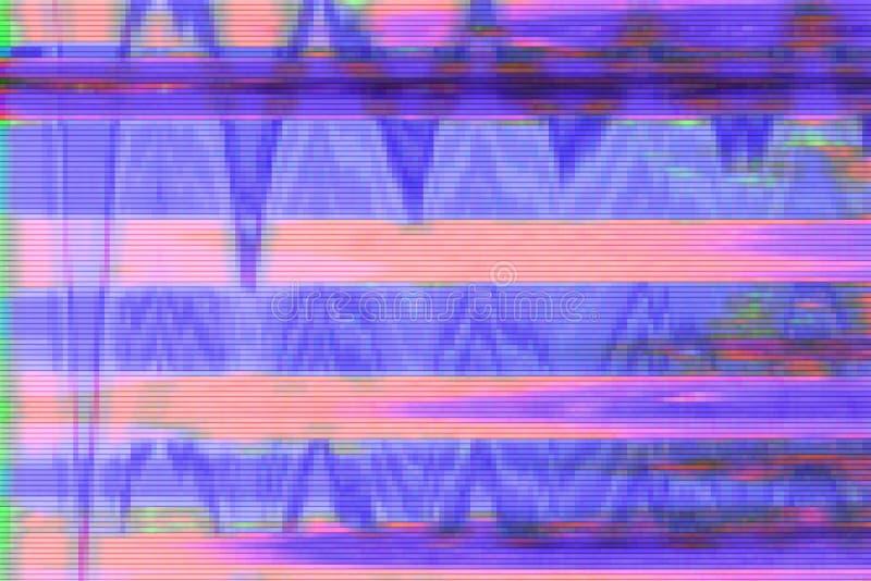 小故障vhs背景人工制品噪声,屏幕屏幕小故障 库存例证