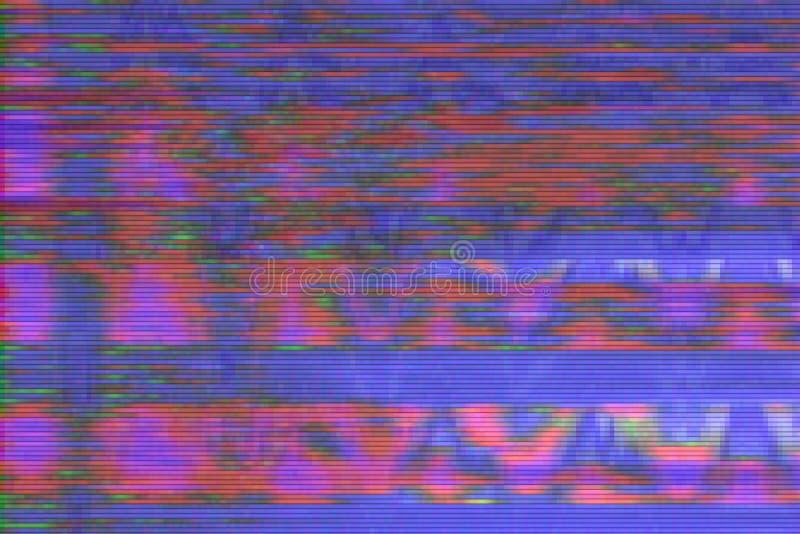 小故障vhs背景人工制品噪声,屏幕设计 皇族释放例证