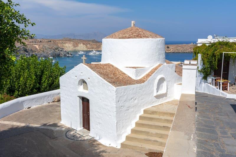 小教会在Lindos,罗得岛海岛,希腊 图库摄影